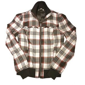 🛍Rubbish M Brown Plaid Zipper Front Lined Jacket